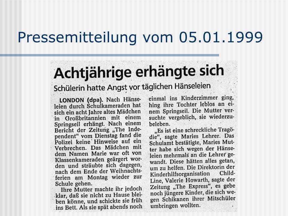 Pressemitteilung vom 05.01.1999