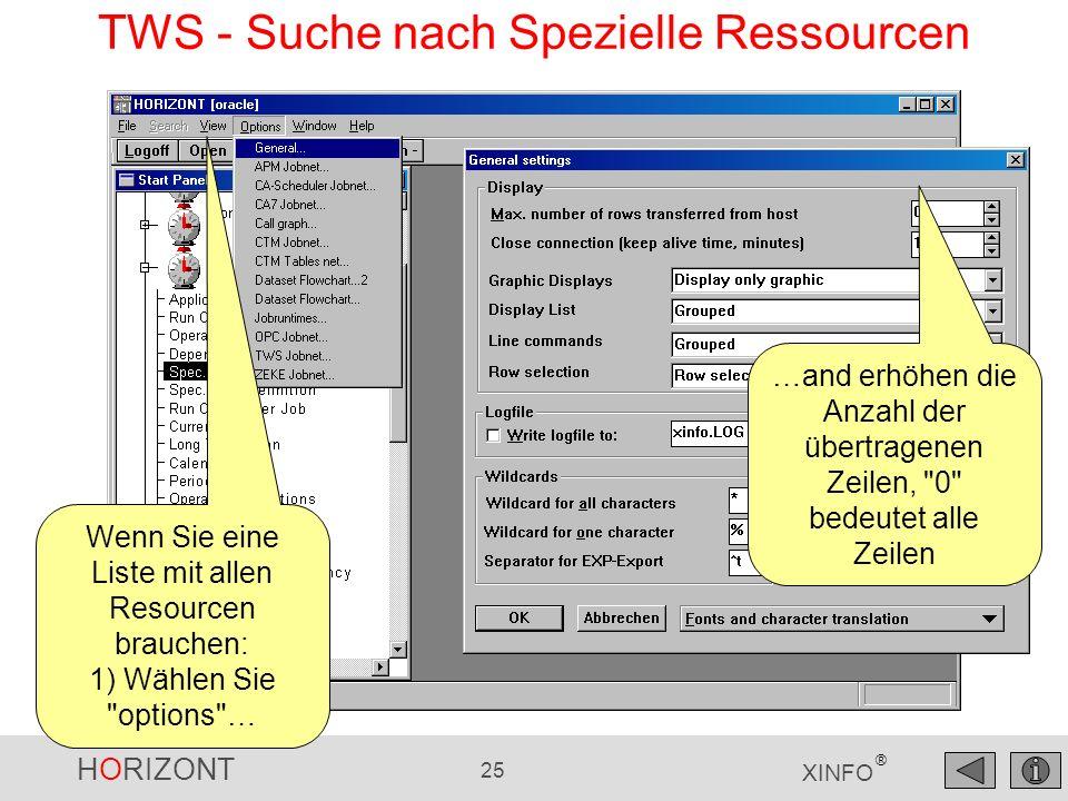 TWS - Suche nach Spezielle Ressourcen