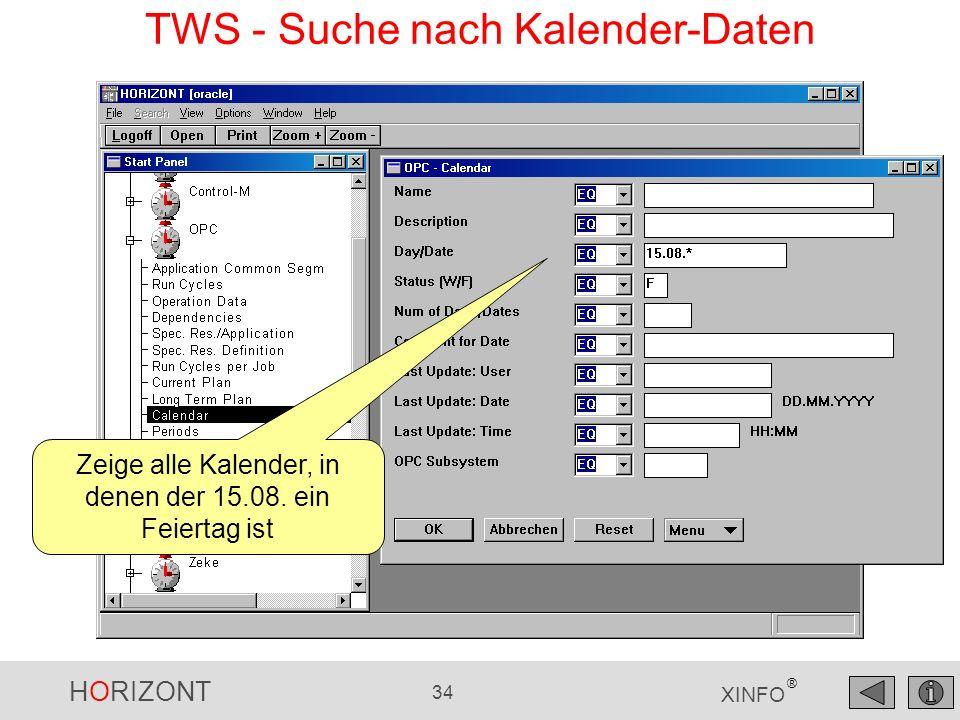 TWS - Suche nach Kalender-Daten