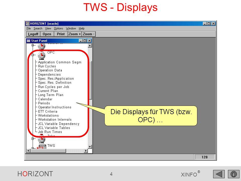 Die Displays für TWS (bzw. OPC) …