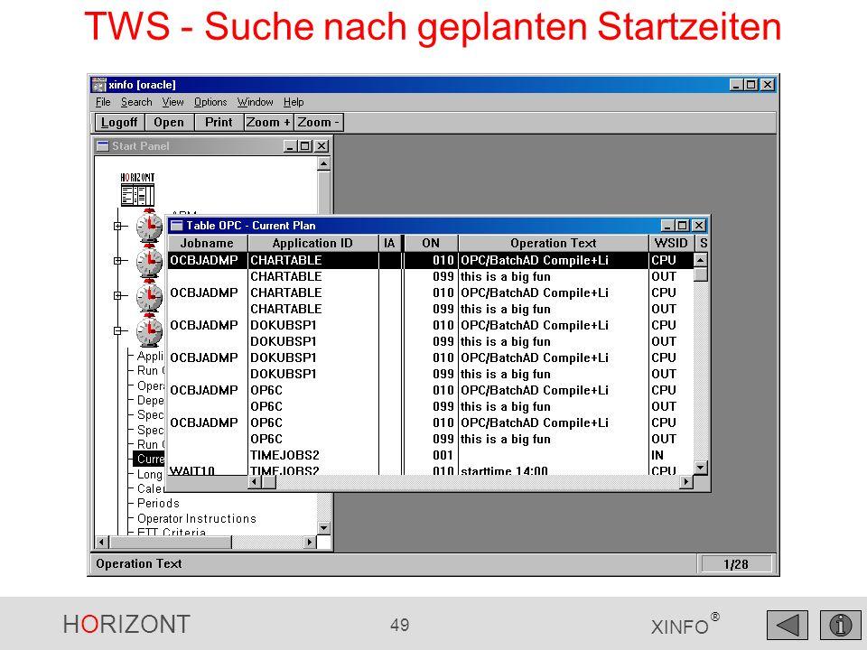 TWS - Suche nach geplanten Startzeiten