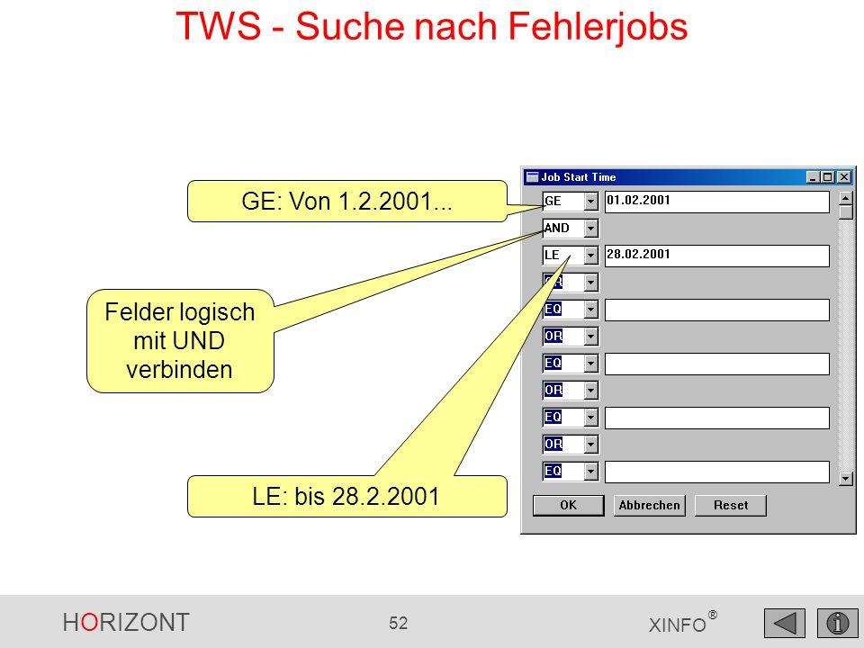 TWS - Suche nach Fehlerjobs