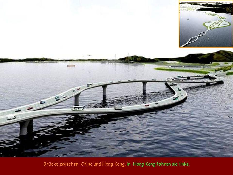 Brücke zwischen China und Hong Kong, in Hong Kong fahren sie links.
