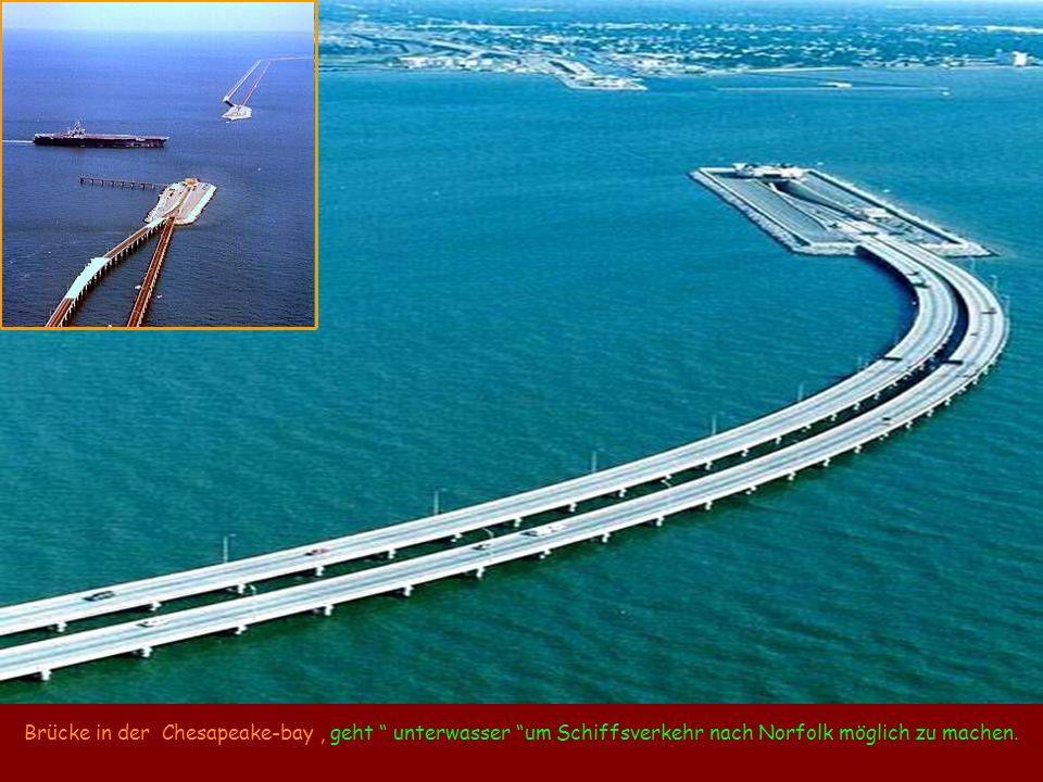 Brücke in der Chesapeake-bay , geht unterwasser um Schiffsverkehr nach Norfolk möglich zu machen.