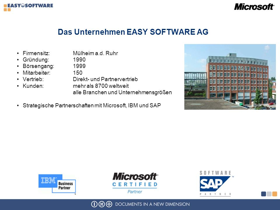 Das Unternehmen EASY SOFTWARE AG