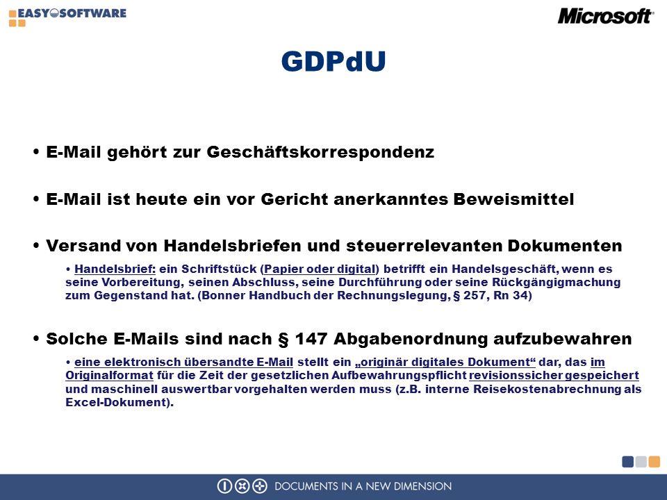 GDPdU E-Mail gehört zur Geschäftskorrespondenz