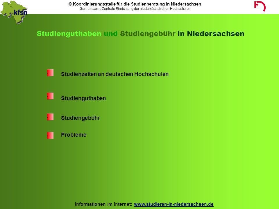Studienguthaben und Studiengebühr in Niedersachsen