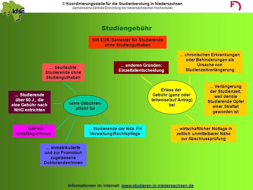 Studiengebühr 500 EUR /Semester für Studierende ohne Studienguthaben