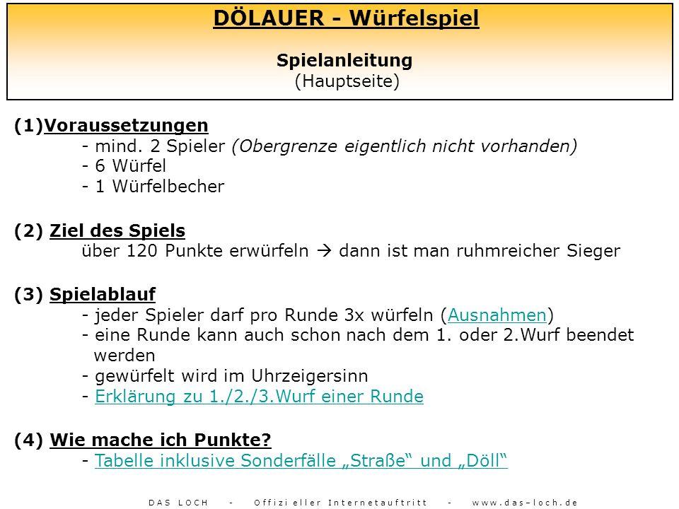 DÖLAUER - Würfelspiel Spielanleitung (Hauptseite)