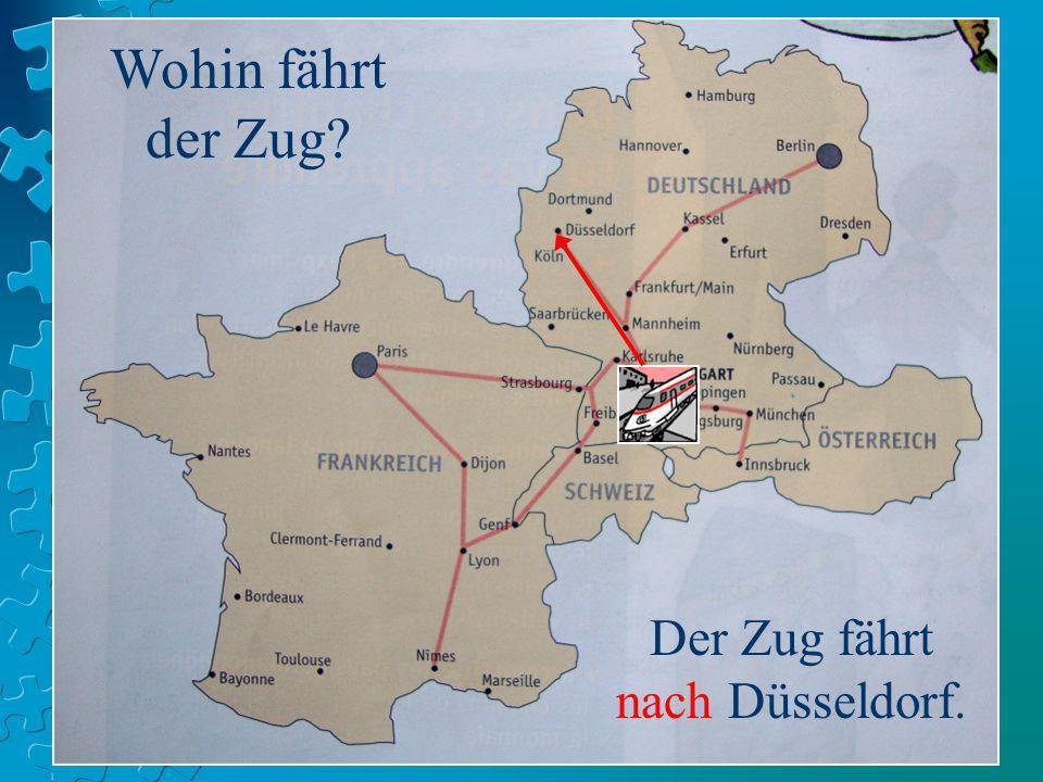 Der Zug fährt nach Düsseldorf.