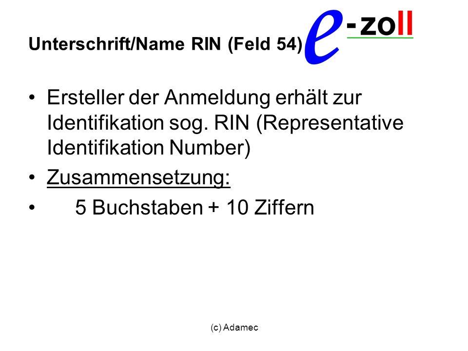 Unterschrift/Name RIN (Feld 54)