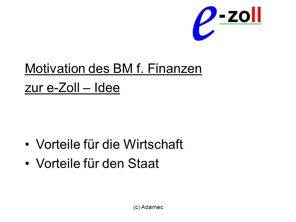 Motivation des BM f. Finanzen zur e-Zoll – Idee