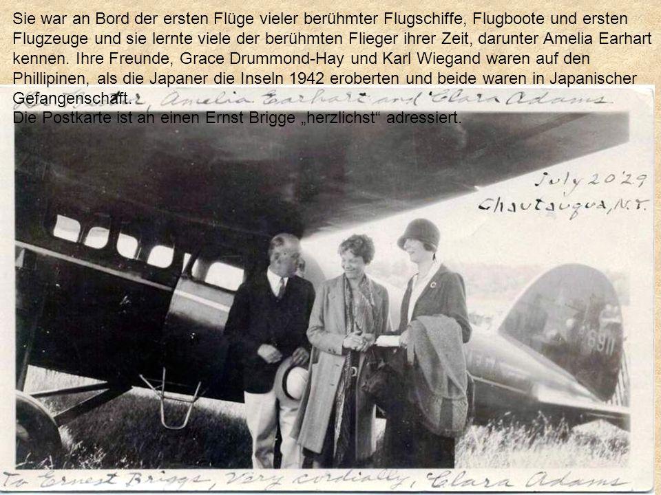 Sie war an Bord der ersten Flüge vieler berühmter Flugschiffe, Flugboote und ersten Flugzeuge und sie lernte viele der berühmten Flieger ihrer Zeit, darunter Amelia Earhart kennen. Ihre Freunde, Grace Drummond-Hay und Karl Wiegand waren auf den Phillipinen, als die Japaner die Inseln 1942 eroberten und beide waren in Japanischer Gefangenschaft.