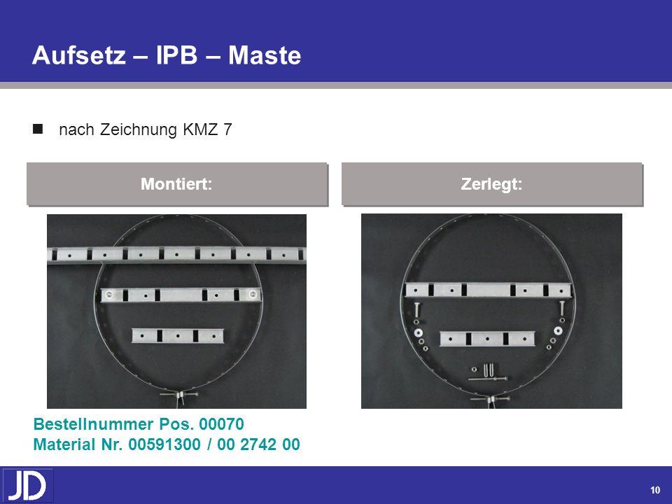 Aufsetz – IPB – Maste nach Zeichnung KMZ 7 Montiert: Zerlegt: