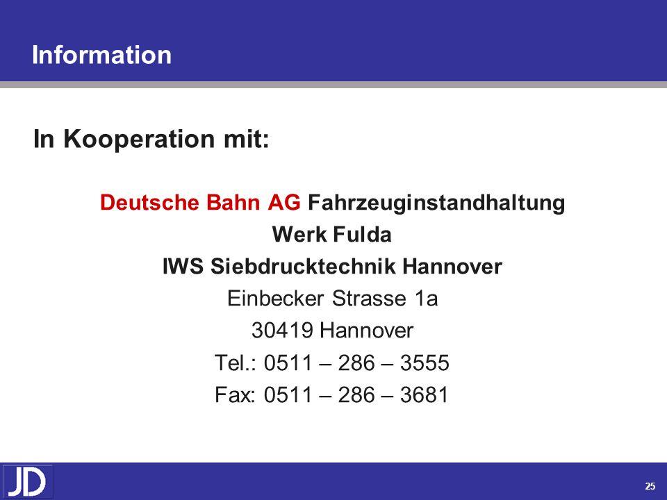 Deutsche Bahn AG Fahrzeuginstandhaltung IWS Siebdrucktechnik Hannover