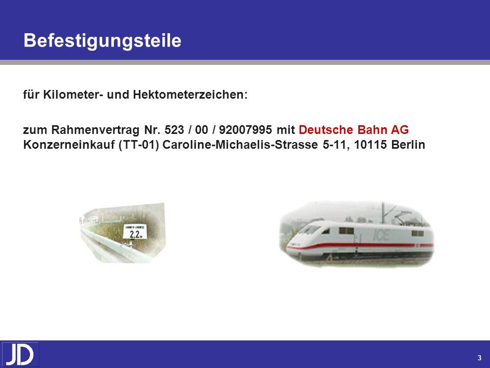 Befestigungsteile für Kilometer- und Hektometerzeichen: