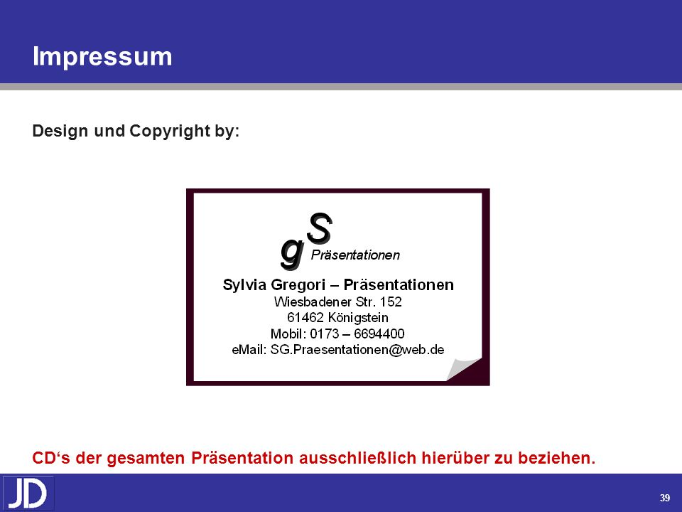 Impressum Design und Copyright by:
