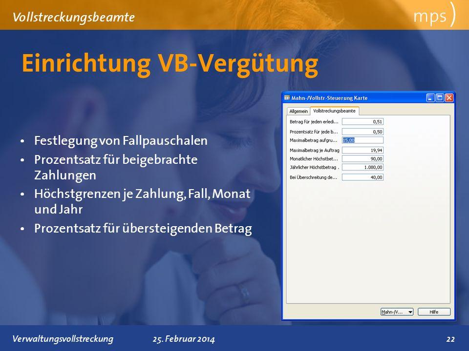 Einrichtung VB-Vergütung