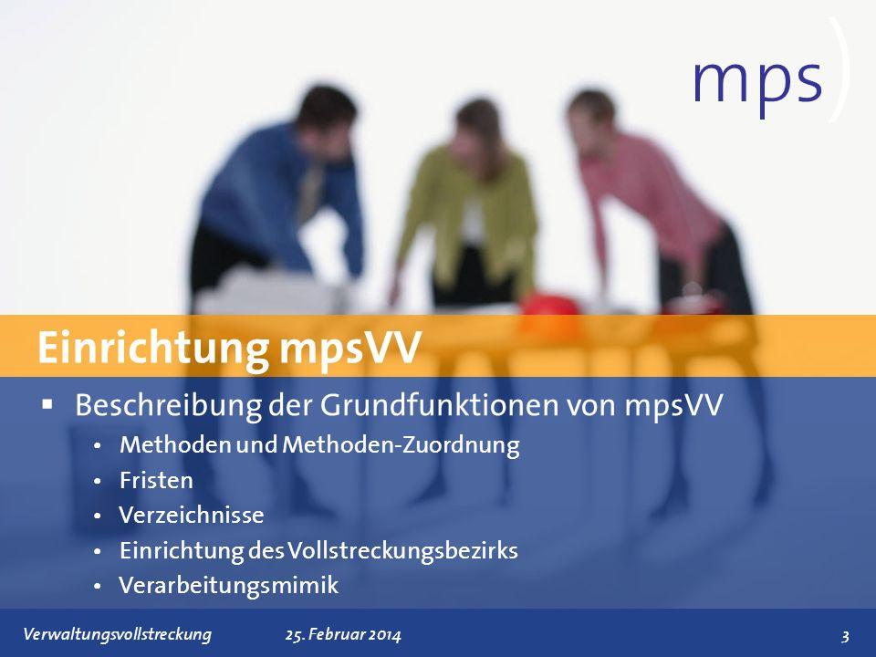 mps) Einrichtung mpsVV Beschreibung der Grundfunktionen von mpsVV