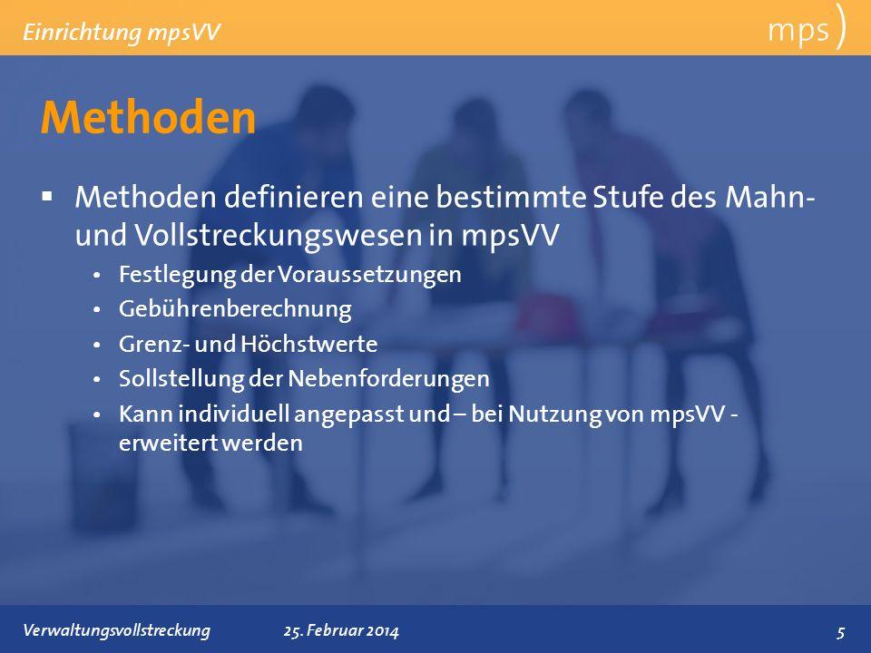 mps ) Einrichtung mpsVV. Methoden. Methoden definieren eine bestimmte Stufe des Mahn- und Vollstreckungswesen in mpsVV.