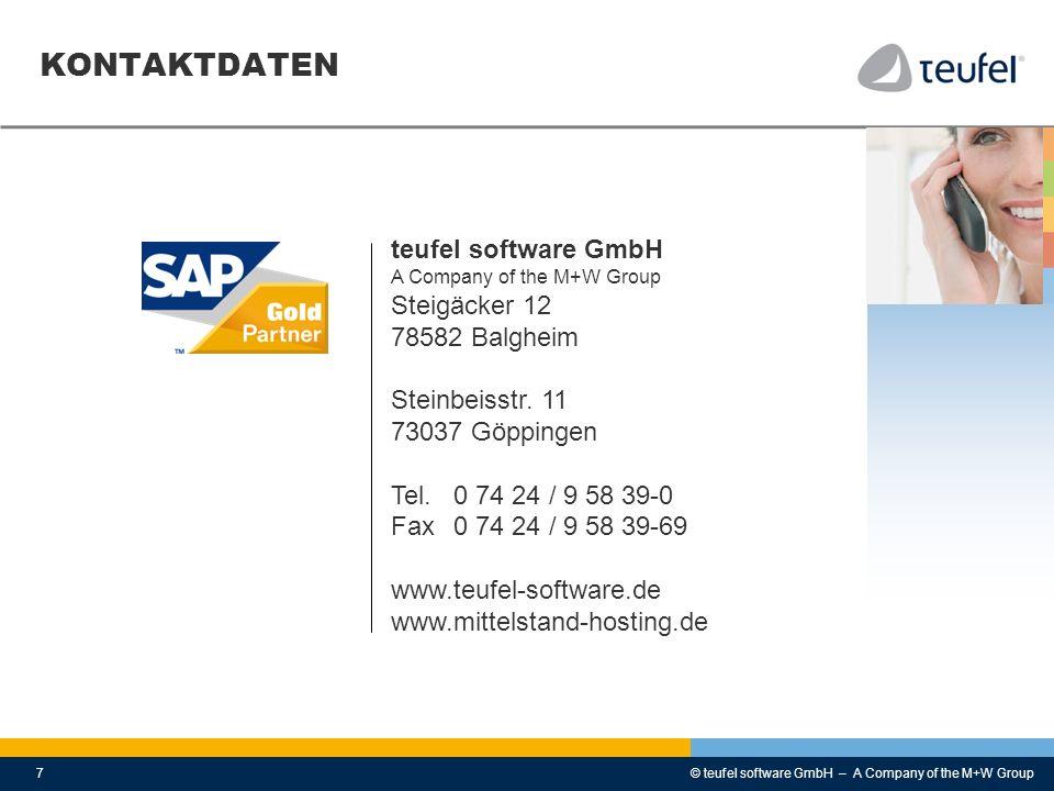 KONTAKTDATEN teufel software GmbH Steigäcker 12 78582 Balgheim