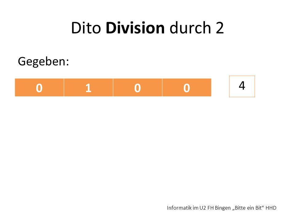 Dito Division durch 2 4 1 Gegeben: