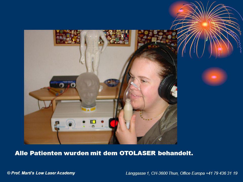 Alle Patienten wurden mit dem OTOLASER behandelt.