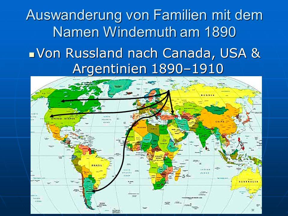 Auswanderung von Familien mit dem Namen Windemuth am 1890
