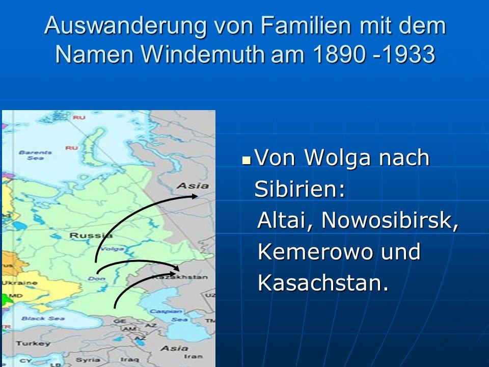 Auswanderung von Familien mit dem Namen Windemuth am 1890 -1933