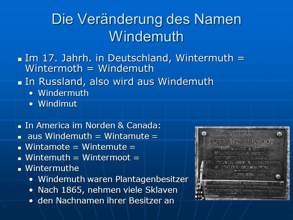 Die Veränderung des Namen Windemuth