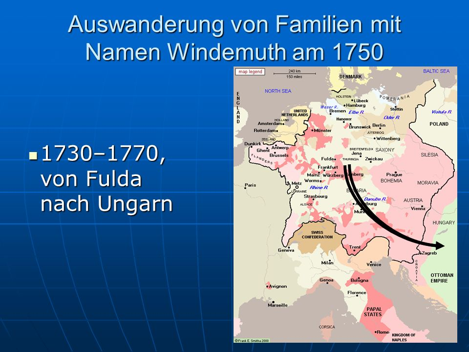 Auswanderung von Familien mit Namen Windemuth am 1750