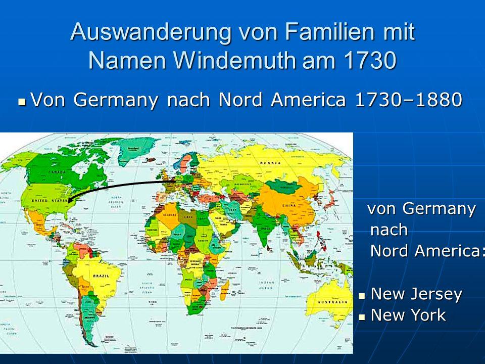 Auswanderung von Familien mit Namen Windemuth am 1730