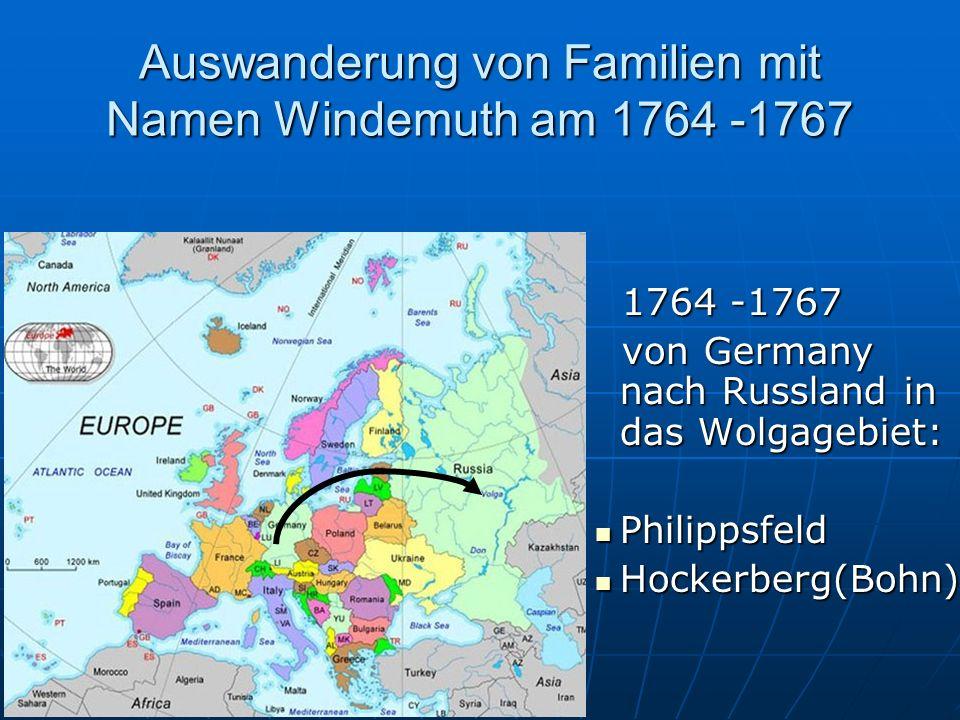 Auswanderung von Familien mit Namen Windemuth am 1764 -1767