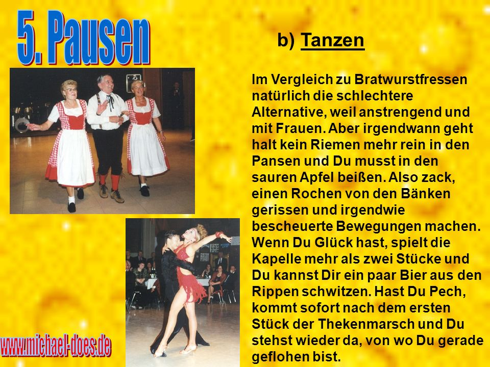 5. Pausen www.michael-does.de b) Tanzen
