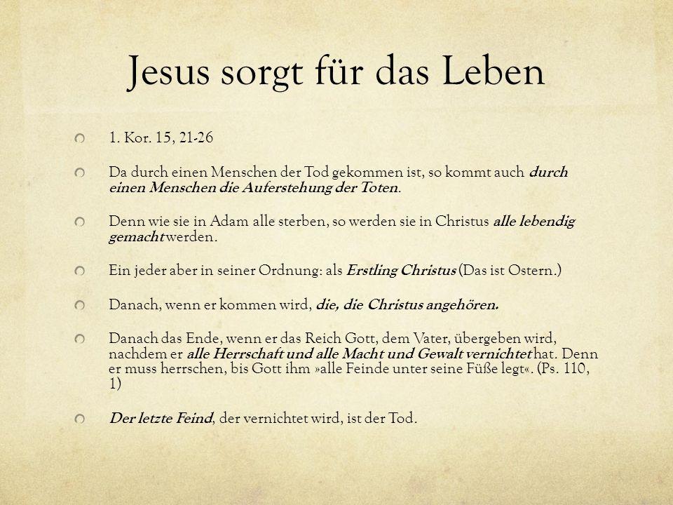Jesus sorgt für das Leben