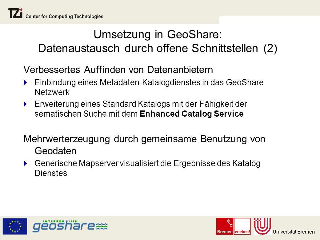 Umsetzung in GeoShare: Datenaustausch durch offene Schnittstellen (2)
