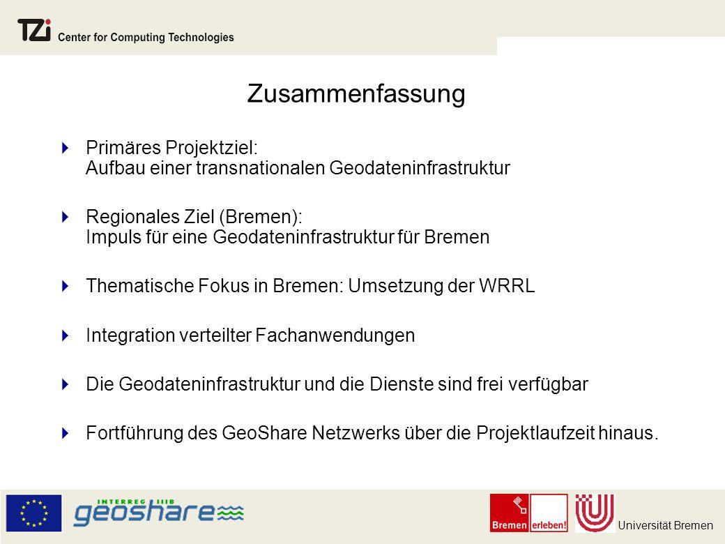 Zusammenfassung Primäres Projektziel: Aufbau einer transnationalen Geodateninfrastruktur.