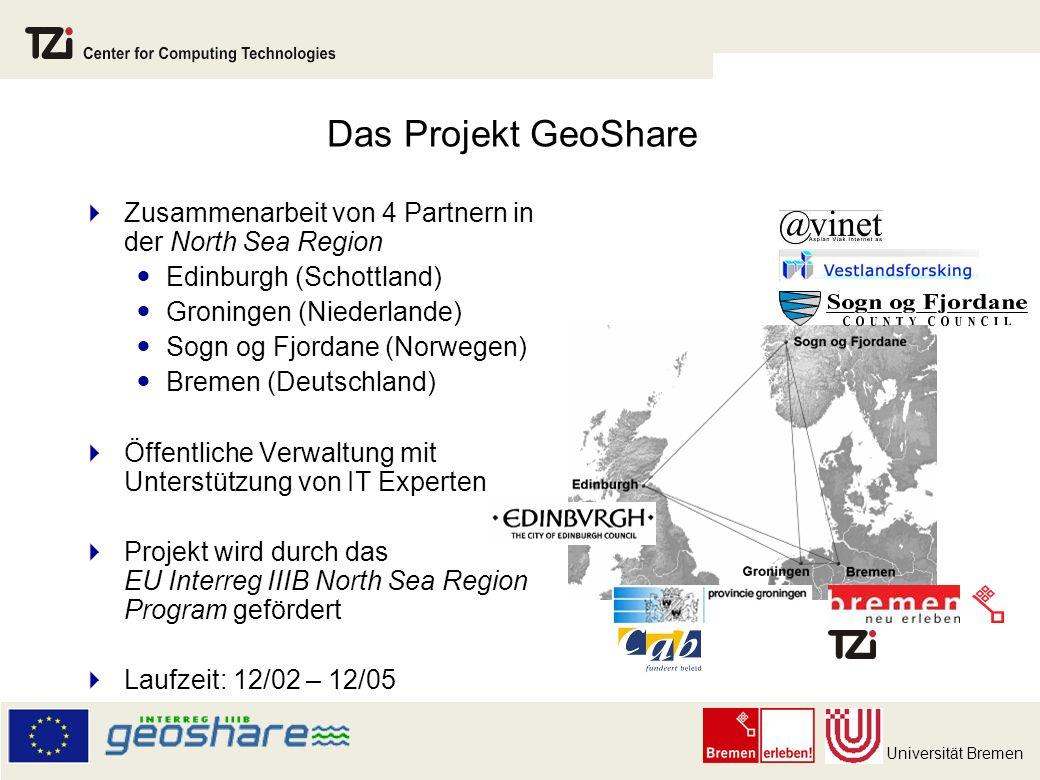 Das Projekt GeoShare Zusammenarbeit von 4 Partnern in der North Sea Region. Edinburgh (Schottland)