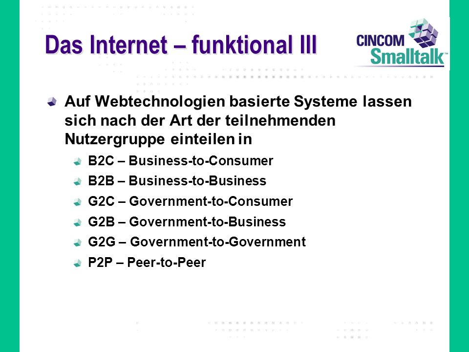 Das Internet – funktional III