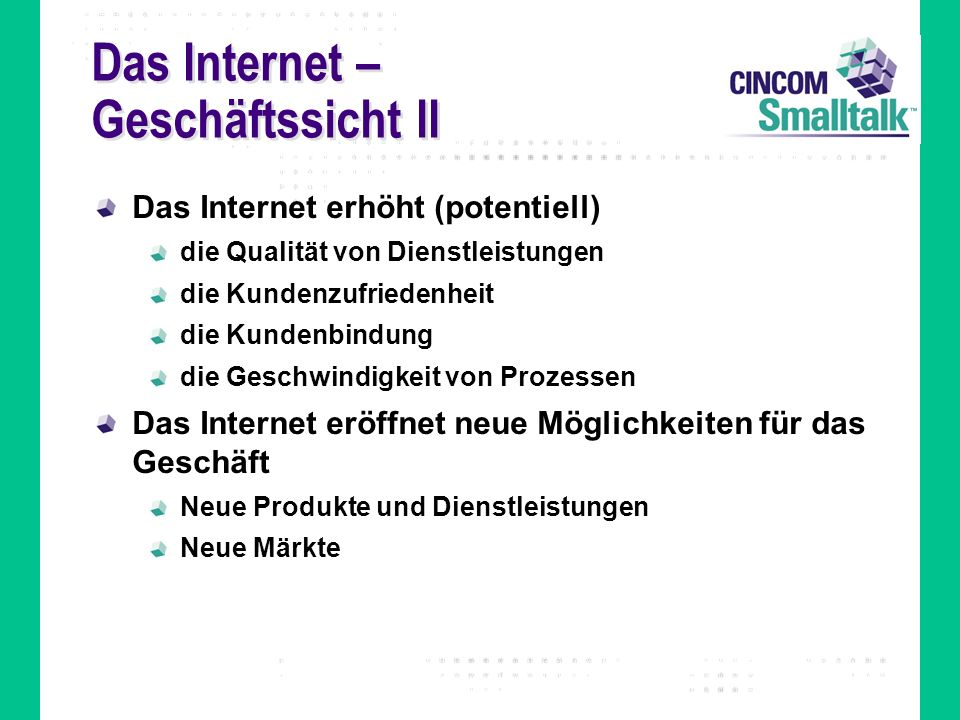 Das Internet – Geschäftssicht II