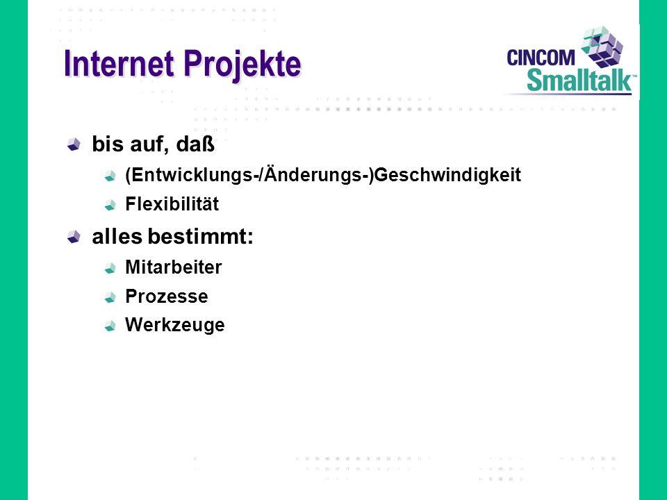 Internet Projekte bis auf, daß alles bestimmt: