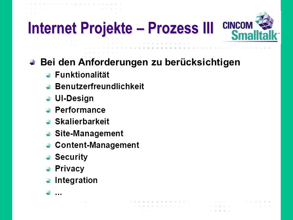Internet Projekte – Prozess III