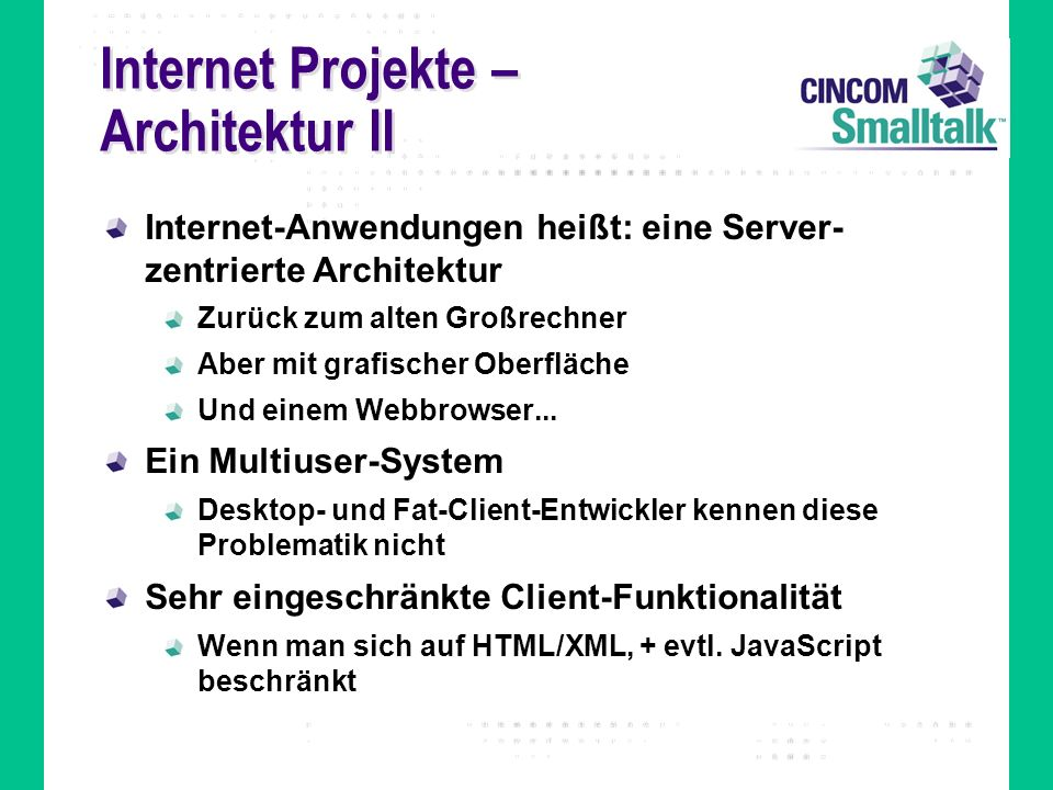 Internet Projekte – Architektur II