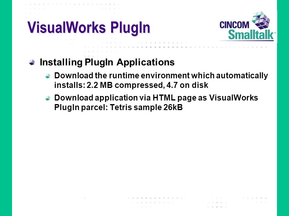 VisualWorks PlugIn Installing PlugIn Applications