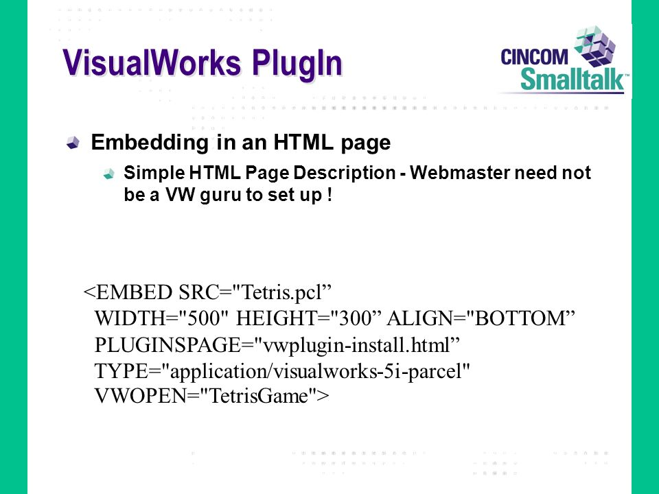 VisualWorks PlugIn Embedding in an HTML page