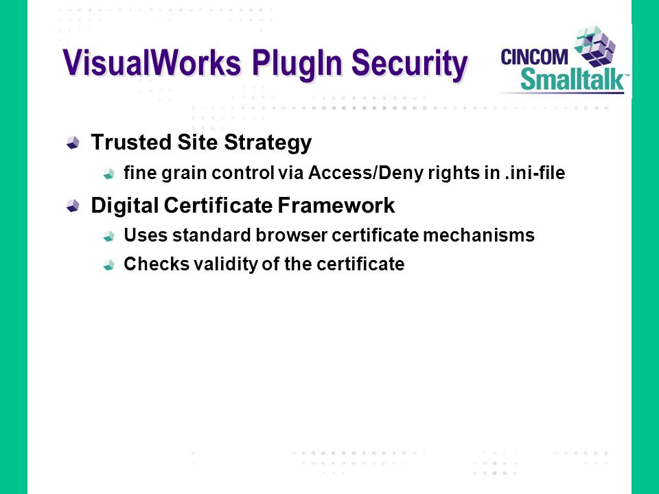 VisualWorks PlugIn Security