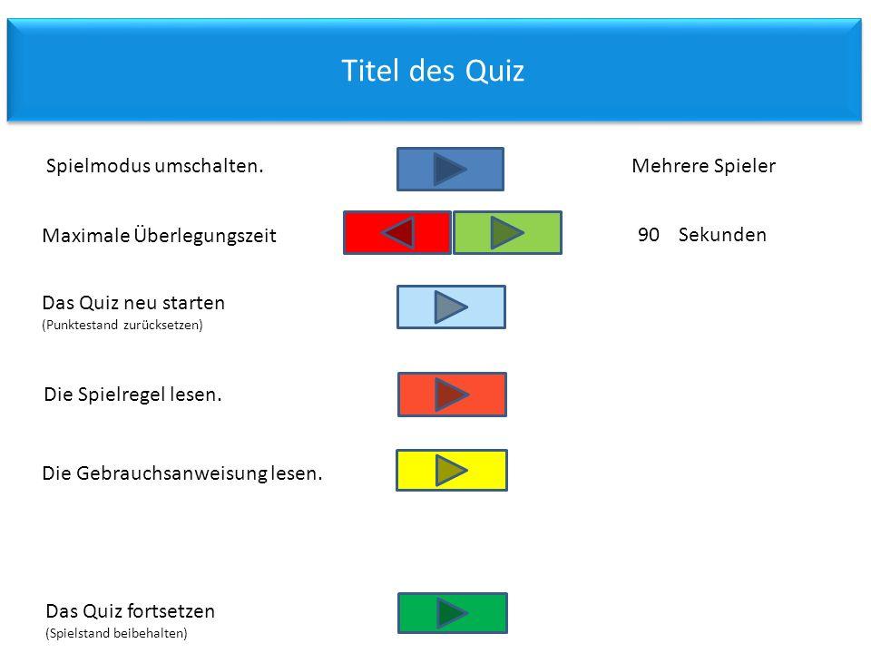 Titel des Quiz Spielmodus umschalten. Mehrere Spieler