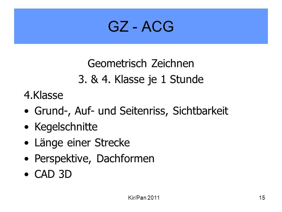 GZ - ACG Geometrisch Zeichnen 3. & 4. Klasse je 1 Stunde 4.Klasse