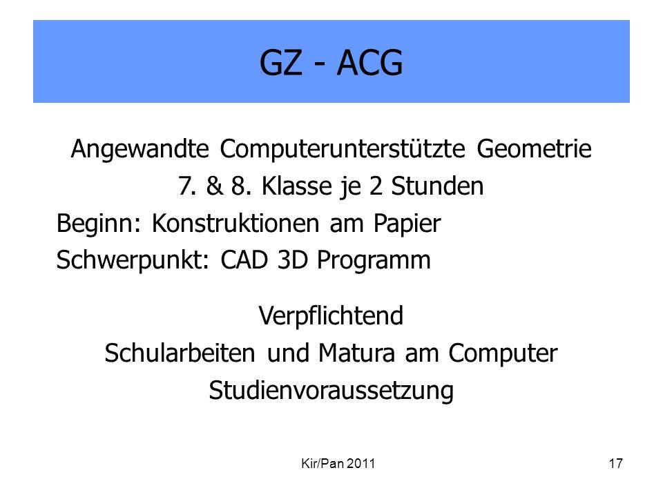 GZ - ACG Angewandte Computerunterstützte Geometrie
