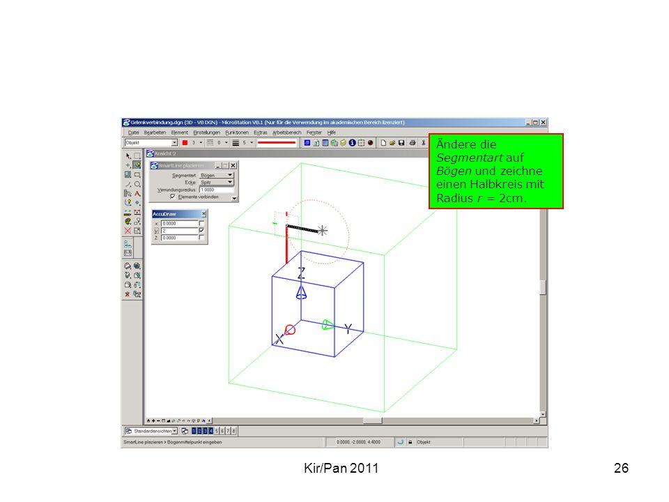 Ändere die Segmentart auf Bögen und zeichne einen Halbkreis mit Radius r = 2cm.